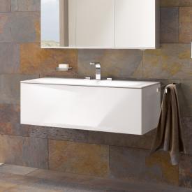 Keuco Edition 11 Waschtischunterschrank für Einbauwaschtisch mit 1 Auszug und LED-Innenbeleuchtung Front Glas weiß/Korpus Lack weiß seidenmatt