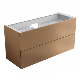 Keuco Edition 11 Waschtischunterschrank für Einbauwaschtisch mit 2 Auszügen und LED-Innenbeleuchtung Front Furnier eiche hell/Korpus Furnier eiche hell