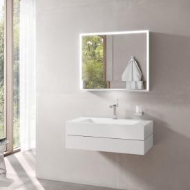 Keuco Edition 300 Waschtisch mit Waschtischunterschrank und Royal Lumos LED-Spiegelschrank Front weiß / Korpus weiß