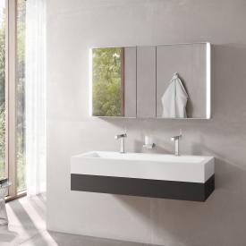 Keuco Edition 300 Waschtisch mit Waschtischunterschrank und Royal Match LED-Spiegelschrank Front anthrazit / Korpus anthrazit