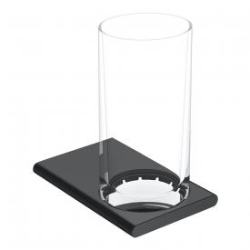 Keuco Edition 400 Glashalter mit Glas schwarz chrom gebürstet
