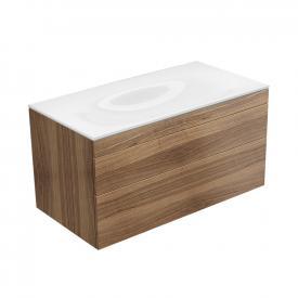 Keuco Edition 400 Waschtischunterschrank für Einbauwaschtisch mit 2 Auszügen Front nussbaum / Korpus nussbaum