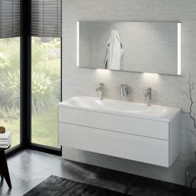 Keuco Royal Reflex Doppelwaschtisch mit Waschtischunterschrank und LED-Lichtspiegel Front weiß hochglanz / Korpus weiß hochglanz