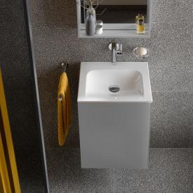 Keuco X-Line Handwaschbeckenunterschrank mit 1 Tür Front inox / Korpus inox seidenmatt