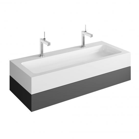 Keuco Edition 300 Doppelwaschtisch mit Waschtischunterschrank mit 1 Auszug Front anthrazit / Korpus anthrazit