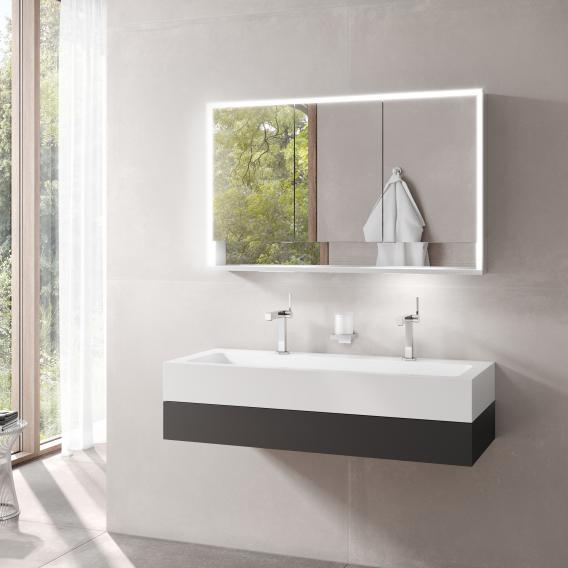 Keuco Edition 300 Waschtisch mit Waschtischunterschrank und Royal Lumos LED-Spiegelschrank Front anthrazit / Korpus anthrazit