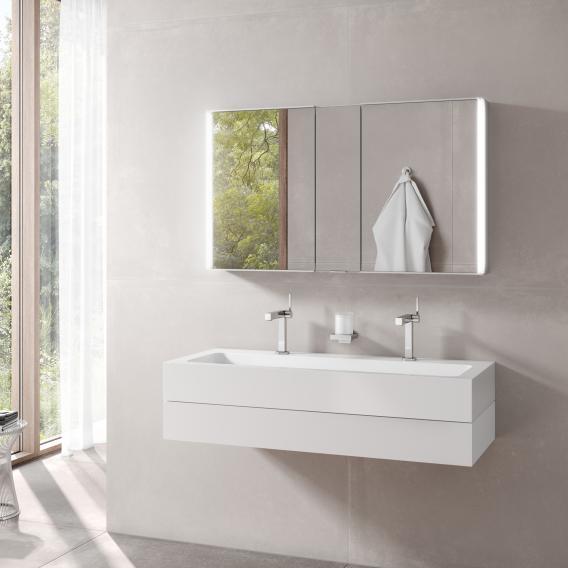 Keuco Edition 300 Waschtisch mit Waschtischunterschrank und Royal Match LED-Spiegelschrank Front weiß / Korpus weiß