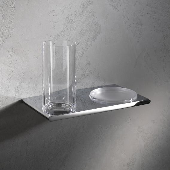 Keuco Edition 400 Doppelhalter mit Glas und Seifenschale chrom