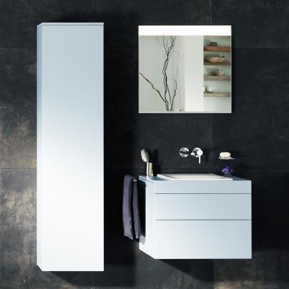 Keuco Edition 400 Hochschrank mit 1 Tür und 1 Regal Front weiß struktur/Korpus weiß struktur