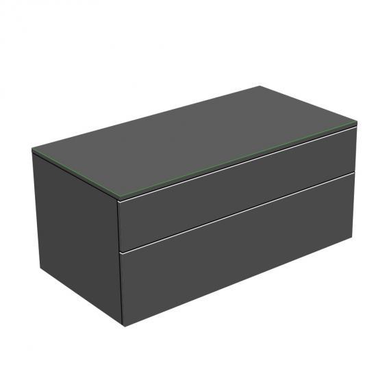 Keuco Edition 400 Sideboard mit 1 Glasplatte und 2 Auszügen FrontKorpus anthrazit struktur / Glasplatte anthrazit matt