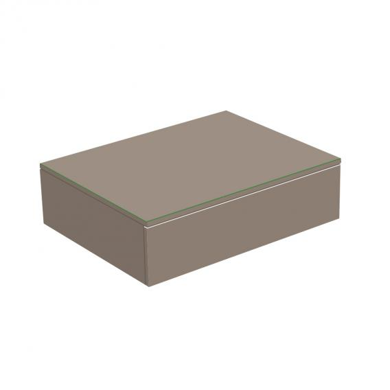 Keuco Edition 400 Sideboard mit 1 Glasplatte und 1 Auszug Front/Korpus trüffel struktur / Glasplatte trüffel matt