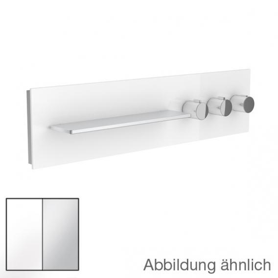 Keuco meTime_spa Thermostatbatterie, für 3 Verbraucher, Griffe rechts, Ablage links Glas weiß satiniert
