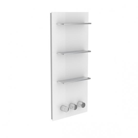 Keuco meTime_spa Thermostatbatterie, für 3 Verbraucher, Griffe rechts Glas weiß
