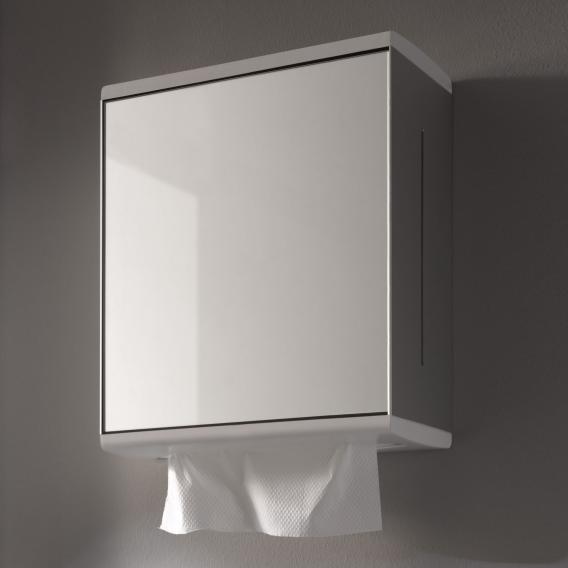 Keuco Moll Papiertuchspender mit Spiegeltür, Anschlag links aluminium silber eloxiert/weiß