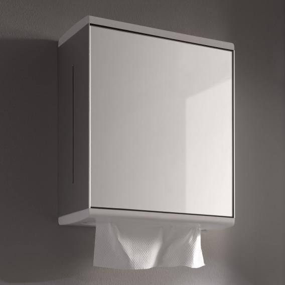 Keuco Moll Papiertuchspender mit Spiegeltür, Anschlag rechts aluminium silber eloxiert/weiß