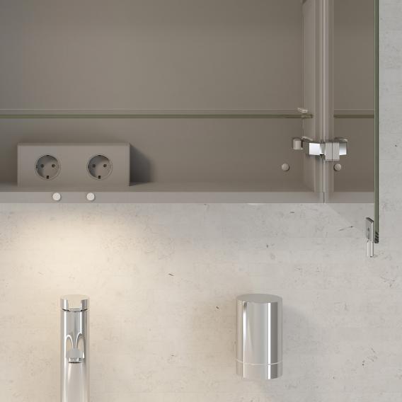 Keuco Royal Reflex Waschtisch mit Waschtischunterschrank und LED-Spiegelschrank Front weiß hochglanz / Korpus weiß hochglanz