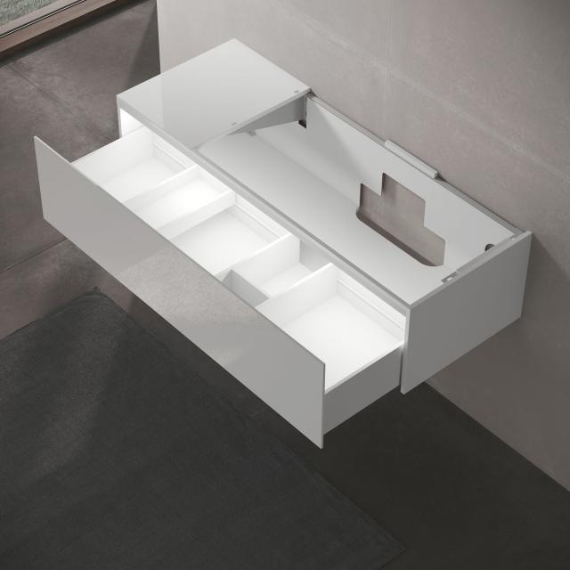 Keuco Edition 11 LED-Waschtischunterschrank für Einbauwaschtisch mit 1 Auszug und Ablage Front Glas weiß/Korpus Lack weiß seidenmatt