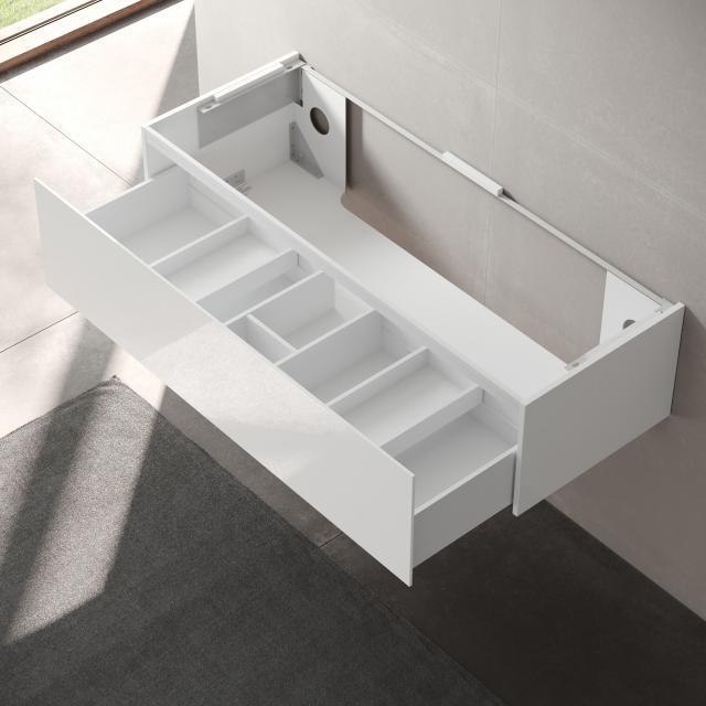Keuco Edition 11 Waschtischunterschrank für Einbauwaschtisch mit 1 Auszug Front Lack weiß hochglanz/Korpus Lack weiß hochglanz