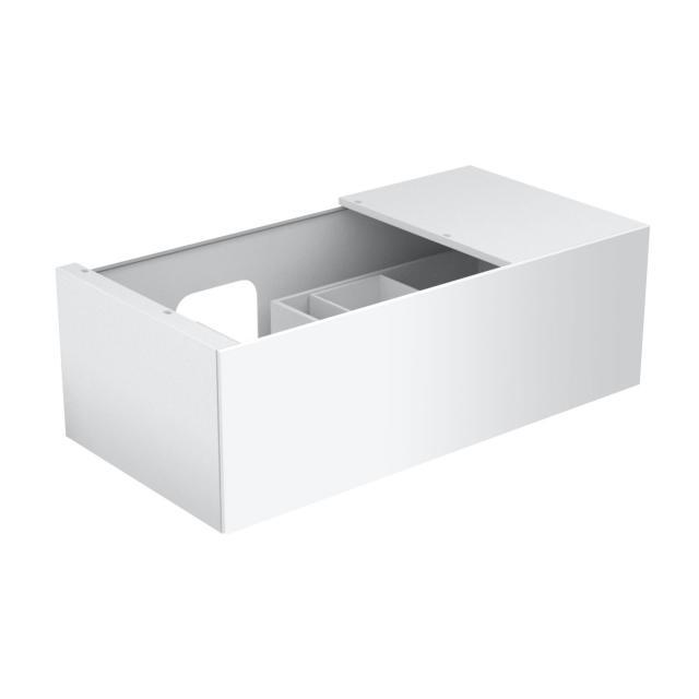 Keuco Edition 11 Waschtischunterschrank für Einbauwaschtisch mit 1 Auszug, LED-Innenbeleuchtung und Ablage Front Glas weiß satiniert/Korpus Lack weiß seidenmatt