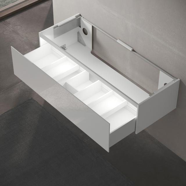 Keuco Edition 11 Waschtischunterschrank für Einbauwaschtisch mit 1 Auszug und LED-Innenbeleuchtung Front Lack weiß hochglanz/Korpus Lack weiß hochglanz