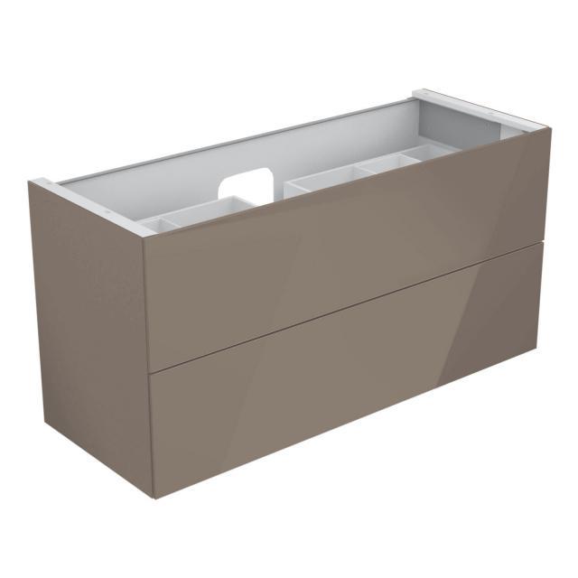 Keuco Edition 11 Waschtischunterschrank für Einbauwaschtisch mit 2 Auszügen und LED-Innenbeleuchtung Front Glas trüffel/Korpus Lack trüffel seidenmatt