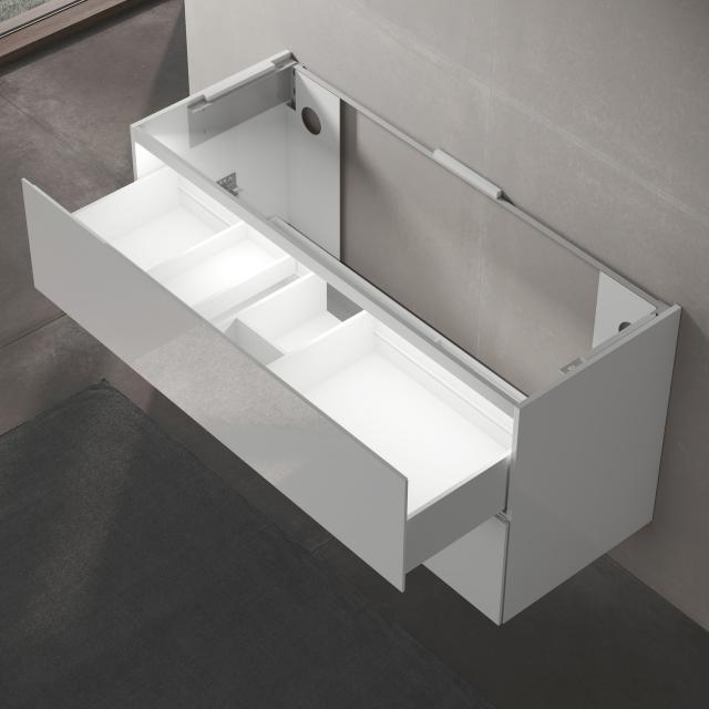 Keuco Edition 11 Waschtischunterschrank für Einbauwaschtisch mit 2 Auszügen und LED-Innenbeleuchtung Front Lack weiß hochglanz/Korpus Lack weiß hochglanz