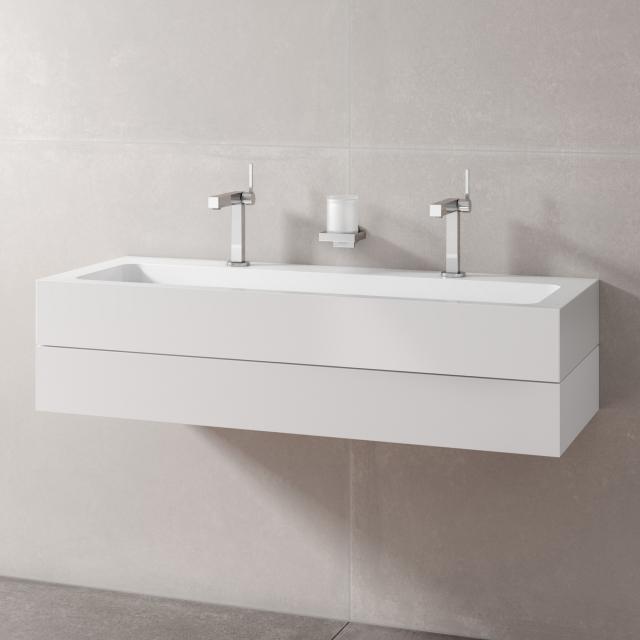 Keuco Edition 300 Doppelwaschtisch mit Waschtischunterschrank mit 1 Auszug Front weiß / Korpus weiß