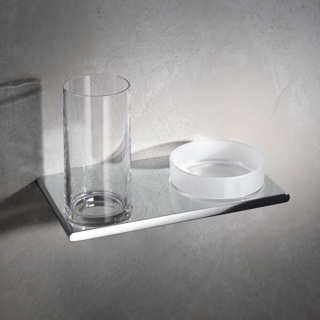 Keuco Edition 400 Doppelhalter mit Glas und Ablageschale chrom