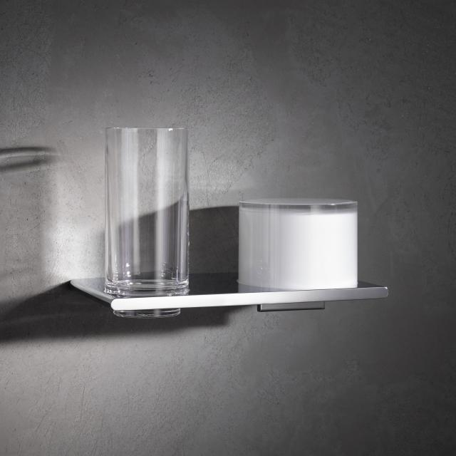 Keuco Edition 400 Doppelhalter mit Glas und Lotionspender chrom