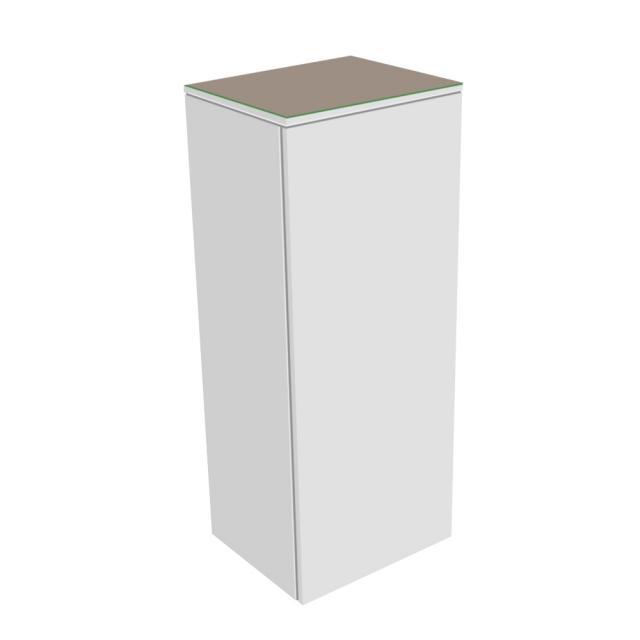 Keuco Edition 400 Mittelschrank mit 1 Tür und 1 Glasplatte Front/Korpus: weiß struktur, Glasplatte: trüffel matt