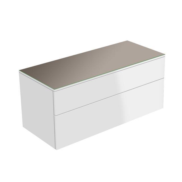 Keuco Edition 400 Sideboard mit 1 Glasplatte und 2 Auszügen Front/Korpus weiß hochglanz / Glasplatte trüffel glänzend
