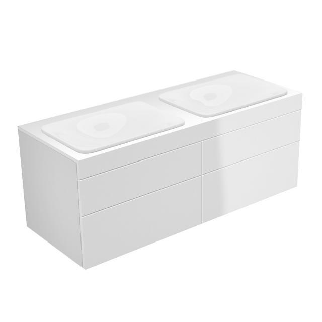 Keuco Edition 400 Waschtischunterschrank für 2 Einbauwaschtische mit 4 Auszügen Front weiß hochglanz / Korpus weiß hochglanz