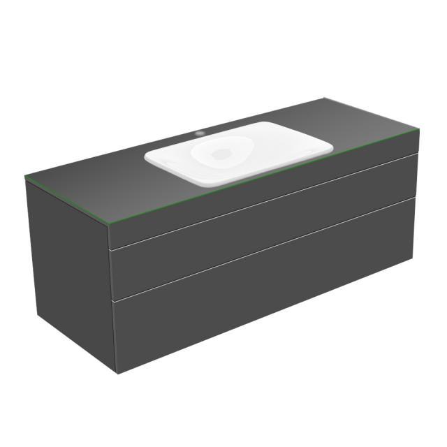 Keuco Edition 400 Waschtischunterschrank für Einbauwaschtisch mit 1 Glasplatte und 2 Auszügen Front/Korpus anthrazit struktur / Glasplatte anthrazit glänzend