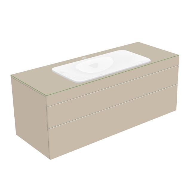 Keuco Edition 400 Waschtischunterschrank für Einbauwaschtisch mit 1 Glasplatte und 2 Auszügen Front/Korpus cashmere struktur / Glasplatte cashmere matt