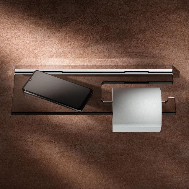Keuco Edition 90 Square Toilettenpapierhalter mit Glasablage