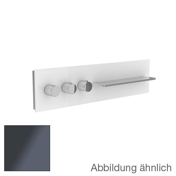 Keuco meTime_spa Thermostatbatterie, für 3 Verbraucher, Griffe links, Ablage rechts Glas anthrazit