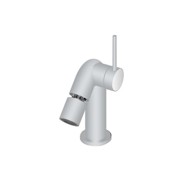 Keuco Plan S Einhebel-Bidetmischer mit Ablaufgarnitur aluminium matt