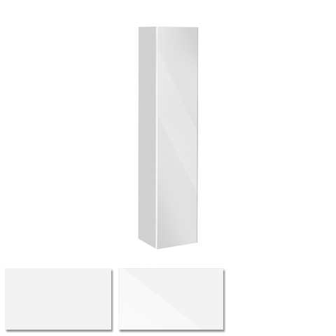Keuco Royal Reflex Hochschrank mit 1 Tür und 1 Wäschekorb Front Glas weiß / Korpus weiß