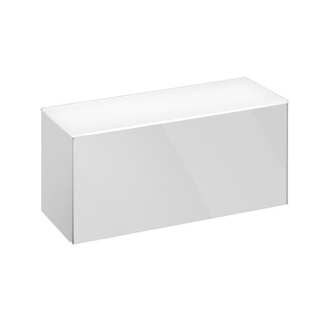 Keuco Royal Reflex Sideboard mit 1 Auszug Front Glas weiß / Korpus weiß