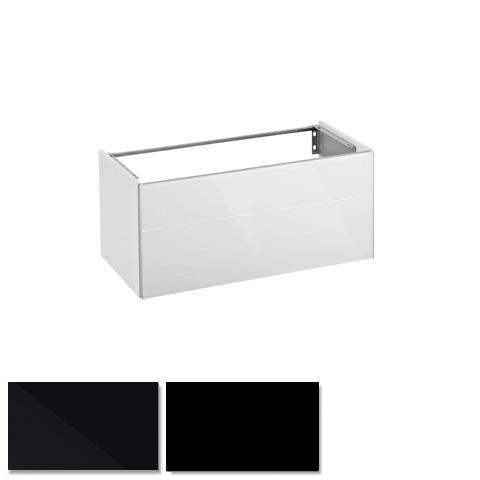 Keuco Royal Reflex Waschtischunterschrank für Einbauwaschtisch mit 1 Auszug Front Glas schwarz / Korpus schwarz seidenmatt