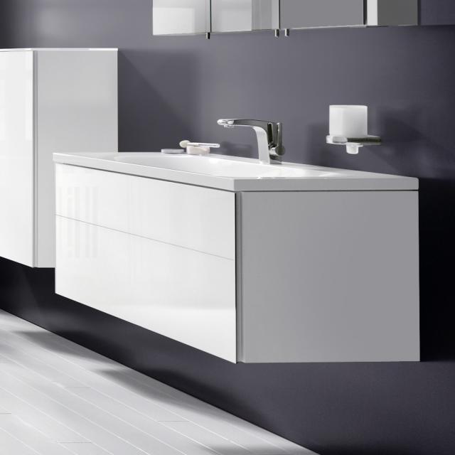 Keuco Royal Reflex Waschtischunterschrank für Einbauwaschtisch mit 1 Auszug Front Glas weiß / Korpus weiß