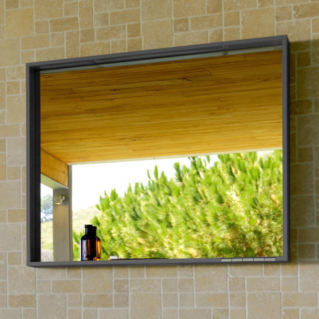 Keuco X-Line Spiegel mit DALI-LED-Beleuchtung anthrazit seidenmatt, ohne Spiegelheizung