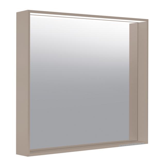 Keuco X-Line Spiegel mit DALI-LED-Beleuchtung trüffel seidenmatt, mit Spiegelheizung