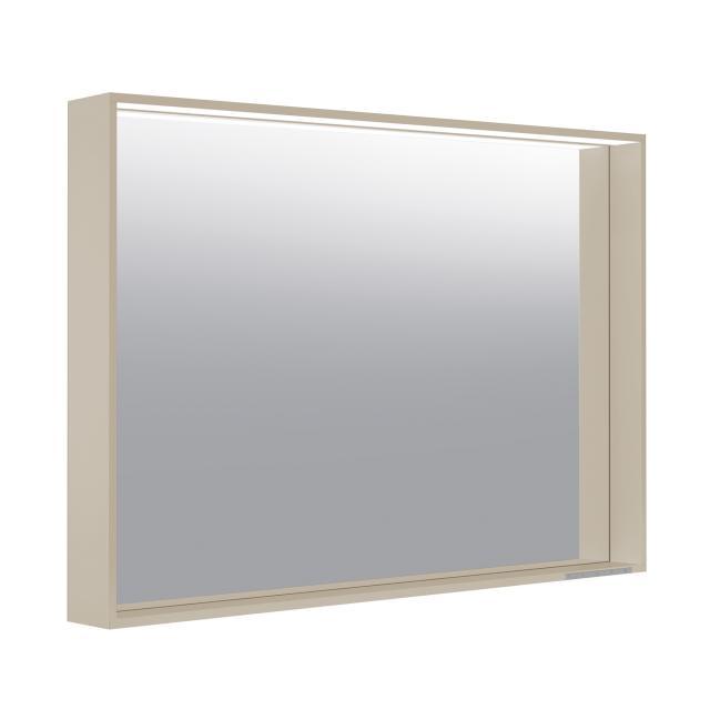 Keuco X-Line Spiegel mit LED-Beleuchtung cashmere seidenmatt, Farbtemperatur einstellbar, ohne Spiegelheizung