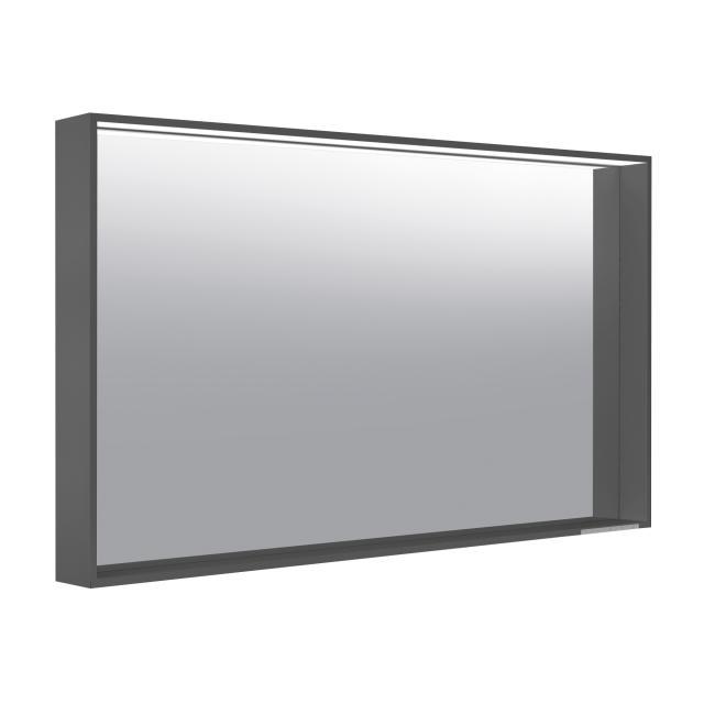 Keuco X-Line Spiegel mit LED-Beleuchtung anthrazit seidenmatt, Farbtemperatur einstellbar, ohne Spiegelheizung