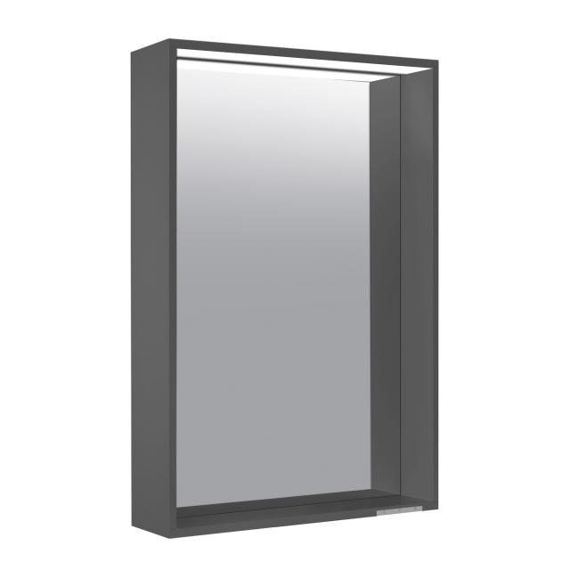 Keuco X-Line Spiegel mit LED-Beleuchtung anthrazit seidenmatt, warmweiß, ohne Spiegelheizung