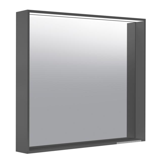 Keuco X-Line Spiegel mit LED-Beleuchtung anthrazit seidenmatt, Farbtemperatur einstellbar, mit Spiegelheizung