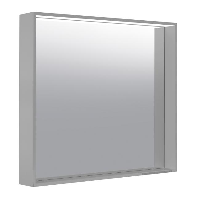 Keuco X-Line Spiegel mit LED-Beleuchtung inox seidenmatt, Farbtemperatur einstellbar, mit Spiegelheizung