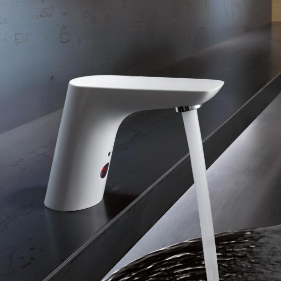 Kludi BALANCE E Elektronische Waschtischarmatur mit Temperaturregulierung batteriebetrieben, weiß/chrom