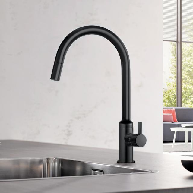 Kludi BINGO STAR Küchenarmatur, Auslauf schwenkbar & ausziehbar schwarz matt